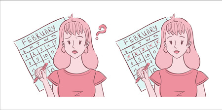 Illustration of young woman shown confused about her irregular periods and happy with her regular periods
