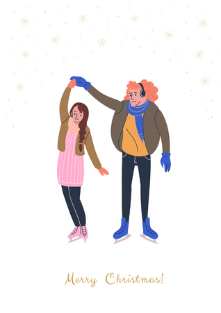 Xmas greeting card with happy skating couple in love. Young people dressed in winter clothes and skates. Vector illustration with golden snowflakes and text Merry Christmas Illustration
