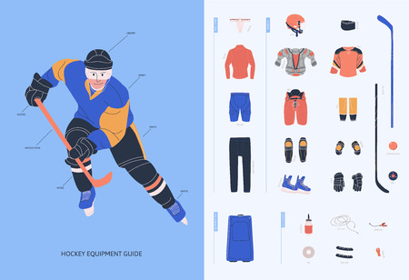 Ice hockey equipment guide for adult male player. Isolated flat vector illustration.  Infographic with man in uniform and hockey necessary equipment such as under armour clothes, armour, helmet, accesorries, stick, puck