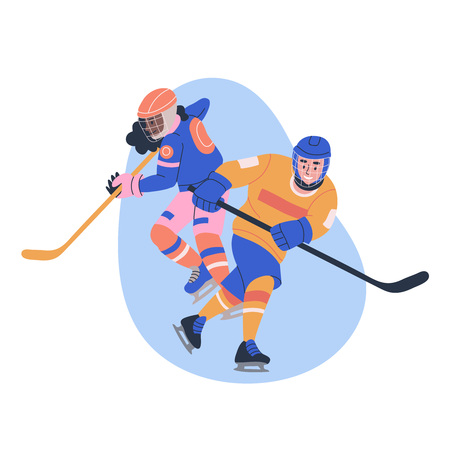 Illustration with young male and female ice hockey players. Isolated vector.