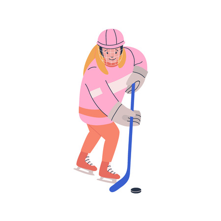 Smiling girl in cage helmet with stick and puck playing ice hockey game