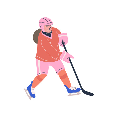 Fair-haired teenager girl in cage helmet with stick playing ice hockey game