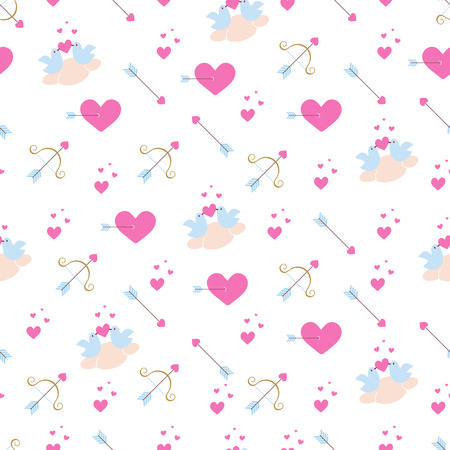Seamless pattern with pink hearts, birds in love on a cloud, golden  bow and arrows. Vector texture in flat style. Иллюстрация
