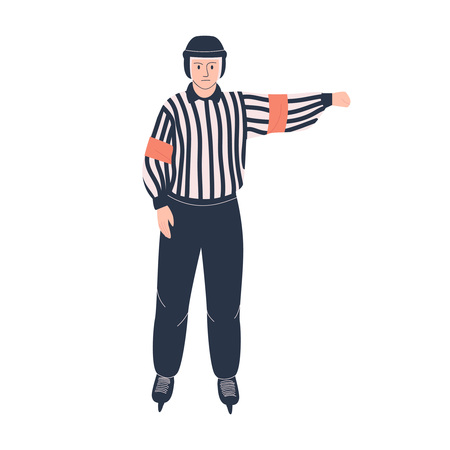 Ice hockey referee. Isolated flat vector illustration with man in hockey uniform for your design 免版税图像 - 120430900