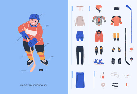 Ice hockey equipment guide for young male players. Isolated flat vector illustration as  infochart for web or print with boy and  hockey necessary equipment