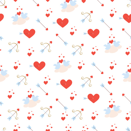 Valentines day seamless pattern with birds on a cloud, red hearts, bow and arrows. Vector texture in flat style. Red, gold and light blue colors.