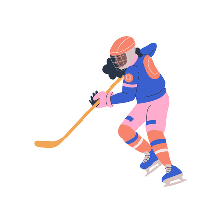 Happy young teenager girl in cage helmet with stick playing ice hockey game