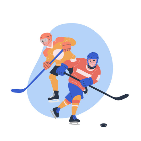 Illustration with teen boys playing ice hockey game. Isolated vector concept with male players