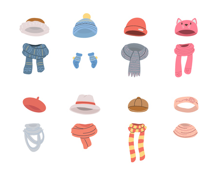Pairs of warm hats and scarves for cold winter weather. Vector collection in cartoon style. Isolated objects on white background. Illustration