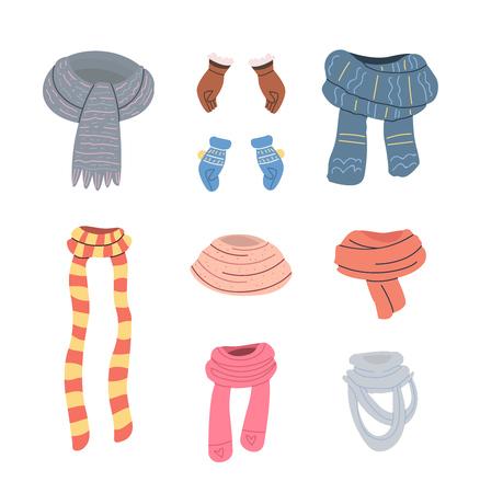 Collection de divers foulards, gants et mitaines. Vecteur défini dans le style de dessin animé. Objets isolés sur fond blanc. Vecteurs