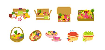 Fruit packages flat vector illustration set. Boxes, trays, baskets with fruits.  Containers for tropical goods delivery, shipping. Storage, keeping of products. Isolated clipart collection 일러스트
