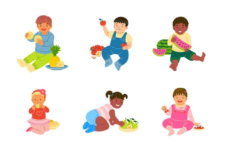 Children eating fruits  vector illustration set. Cartoon multiracial kids, toddlers in different poses, emotions character collection. Healthy nutrition, vitamins for child isolated design elements