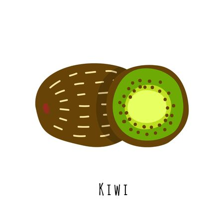 Kiwifruit flat vector illustration. Cartoon slices of fresh tropical fruit. Isolated icon with shadow. Chinese gooseberry creative clipart with typography for healthy cooking menu, design element 向量圖像