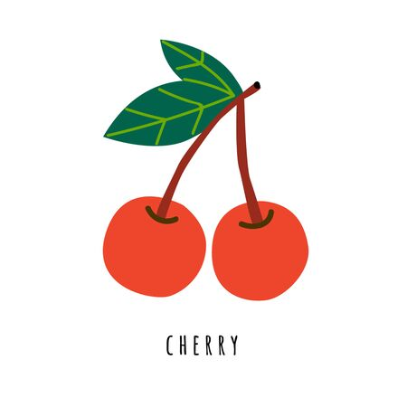 Cherry fruit flat vector illustration. Cartoon sweet fresh fruit. Berry creative clipart with typography. Isolated icon for healthy cooking menu, design element