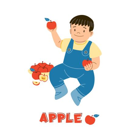 Kid eating apple flat vector illustration. Smiling caucasian child, sitting toddler cartoon character. Healthy nutrition, vitamins for children, organic food isolated design element