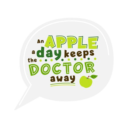 Healthy nutrition hand drawn vector lettering. Apple a day keeps doctor away quote. Organic food, dieting wisdom saying stylized typography. Health aphorism, phrase clipart. Poster, banner element