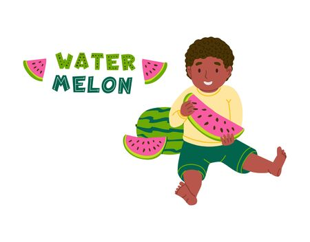 African american kid eating watermelon flat vector illustration. Smiling child, toddler cartoon character. Healthy nutrition, vitamins for children, organic food isolated design element  イラスト・ベクター素材