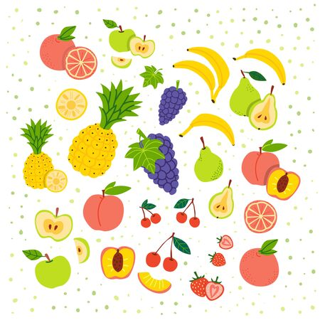 Fruits flat vector illustration set. Cartoon slices of exotic, tropical fresh fruits, vitamins. Orange, apple, pineapple isolated clipart collection. Ripe, raw fruits design element