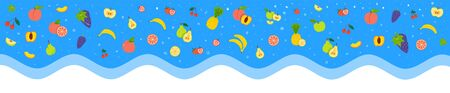 Fruity flat vector banner. Different fruits, berries on blue background. Healthy nutrition, vitamins, organic food. Banana, apple, grape isolated clipart collection, Ripe, raw fruits design element