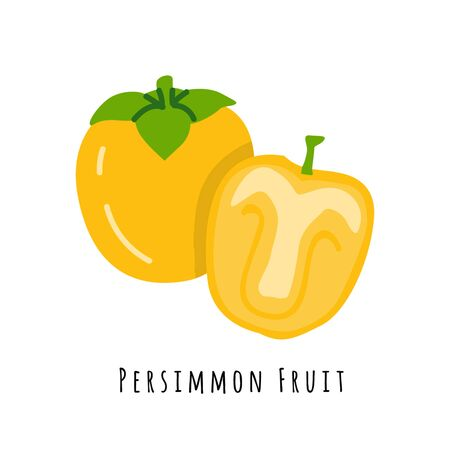 Persimmon fruit flat vector illustration. Cartoon slices of fresh yellow fruit. Isolated icon with shadow. Creative clip art with typography for healthy cooking menu, design element