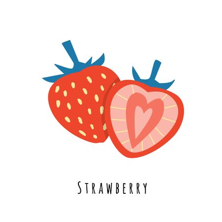Strawberry fruit flat vector illustration. Cartoon slices of sweet fresh fruit. Strawberry creative clipart with typography. Isolated icon for healthy cooking menu,  design element  イラスト・ベクター素材