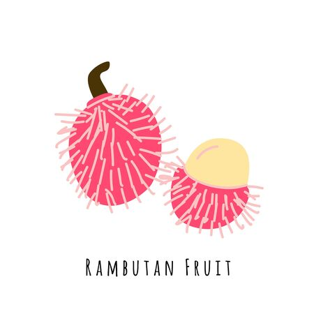 Rambutan fruit flat vector illustration. Cartoon slices of exotic, tropical fresh fruit. Clipart with typography. Isolated icon for healthy cooking menu, design element