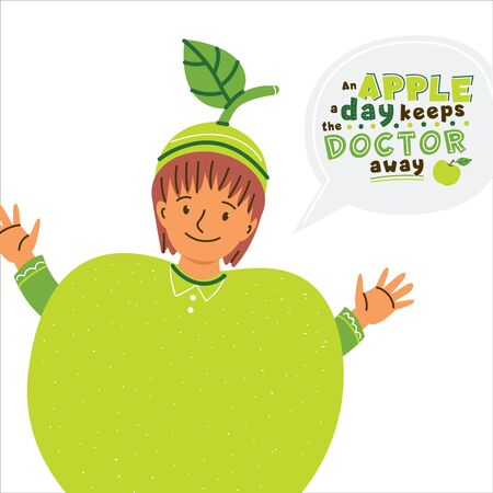 Kid in apple costume flat vector illustration. Apple a day keeps doctor away lettering inside speech bubble. Healthy nutrition, dieting quote, phrase typography. Kids book, textile, poster clipart Ilustração