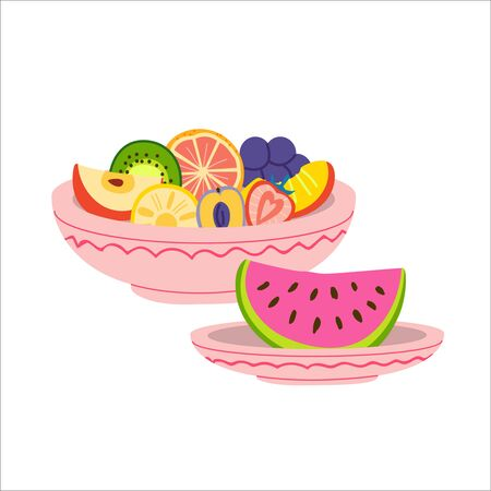 Plates with fruits flat vector illustration. Bowl with orange, apple, grape, watermelon and strawberry. Fresh ripe fruits, vitamins and vegetarian nutrition. Summer food isolated clipart