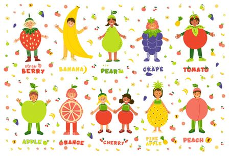Kids in fruits costumes flat characters set. Boys and girls dressed for kindergarten performance, carnival, spectacle cartoon illustrations. Multiracial children in tropical fruit clothing Ilustracja