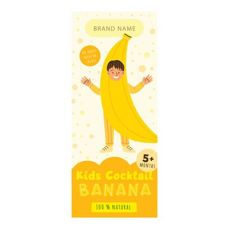 Kids cocktail banana flat packaging template. Smiling child in banana costume cartoon character. Delicious beverage, natural juice for children design. Colorful label for juice advertising