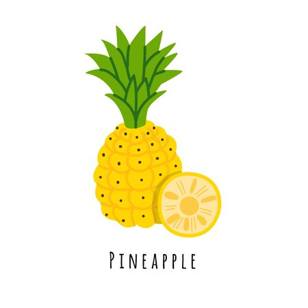 Pineapple fruit flat vector illustration. Cartoon slices of fresh tropical fruit. Isolated icon with shadow. Creative clipart with typography for healthy cooking menu, design element Иллюстрация