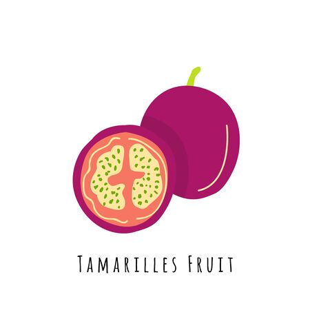 Tamarillo fruit flat vector illustration. Cartoon slices of exotic, tropical fresh fruit. Clipart with typography. Isolated icon for healthy cooking menu, design element