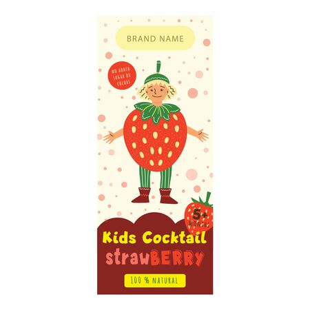 Kids cocktail strawberry flat packaging template. Happy child in strawberry costume cartoon character. Delicious drink, natural juice for children design. Colorful label for juice advertising