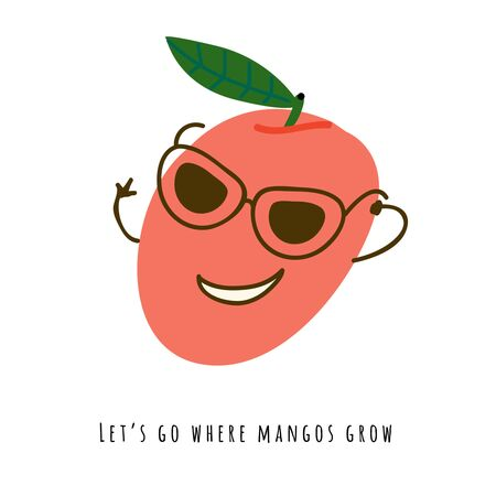 Lets go where mangos grow - card. Cute smiling fruit in sunglasses with hands flat vector illustration. Handwritten text, funny slogan. Isolated cartoon character with typography