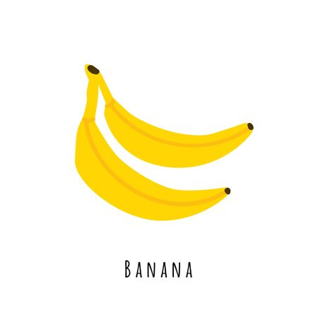 Banana fruit flat vector illustration. Cartoon yellow fresh fruit. Isolated icon. Creative clipart with typography for healthy cooking menu,  design element