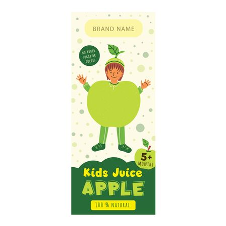 Kids juice apple flat packaging template. Cheerful child in apple costume cartoon character. Delicious beverage, natural juice for children design. Colorful label for juice advertising 일러스트