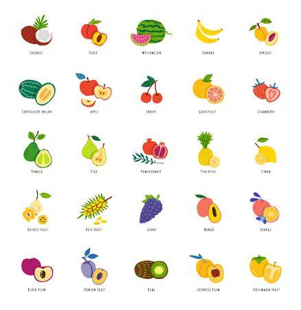 Conjunto de ilustraciones dibujadas a mano de frutas exóticas. Delicia tropical en rodajas. Paquete de dibujos vectoriales de comida de verano. Postre orgánico aislado cliparts con tipografía. Dieta vitamínica, comida vegetariana