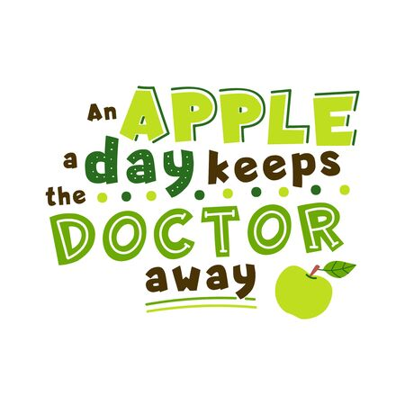 Apple a day keeps doctor away quote. Healthy nutrition hand drawn vector lettering.Organic food, dieting wisdom saying stylized typography. Health aphorism, phrase clipart. Poster, banner element