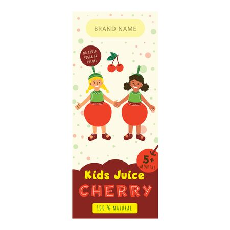 Kids juice cherry flat packaging template. Happy multiracial girls in cherry costume cartoon character. Delicious drink, natural juice for children design. Colorful label for juice advertising
