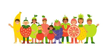 Kids in fruit clothing flat vector illustration. Smiling children wearing funny costumes cartoon characters. Healthy nutrition. Cheerful boy and girls dressed in berry and fruit clothes Иллюстрация