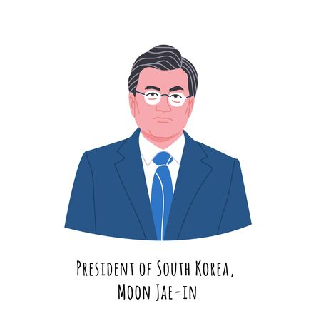 Moon Jae-in hand drawn color portrait illustration.  The Republic of Korea (ROK) President. Respectable person in glasses and suit cartoon character. Korean government chief. Democratic party leader. 일러스트