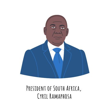 Cyril Ramaphosa hand drawn color portrait illustration.  The Republic of South Africa (RSA) President. African respectable person in suit cartoon character. Government chief.