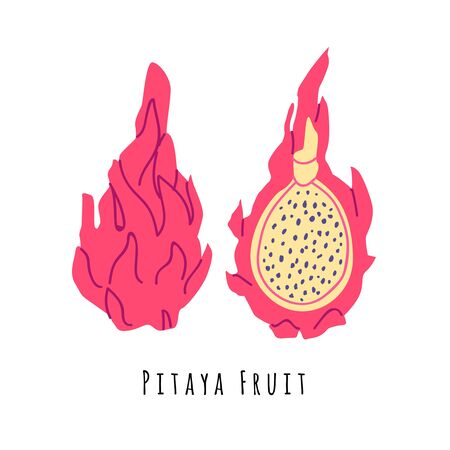 Pitaya fruit flat vector illustration. Cartoon slices of exotic, tropical fresh fruit. Clipart with typography. Isolated icon for healthy cooking menu,  design element
