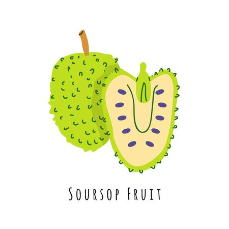 Soursop fruit flat vector illustration. Cartoon slices of exotic, tropical fresh fruit. Clipart with typography. Isolated icon for healthy cooking menu, design element 일러스트
