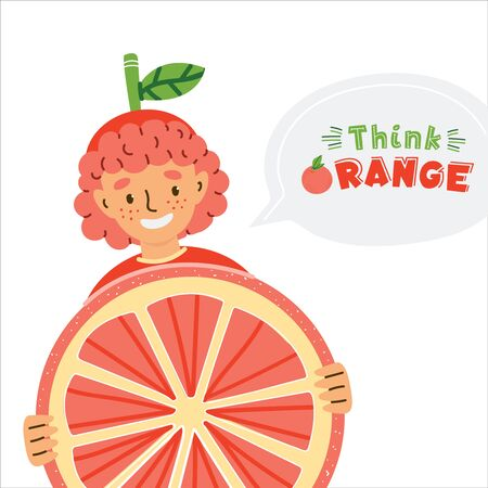 Cute kid dressed in fruit costume flat illustration. Think orange quote lettering inside speech bubble. Boy in childish clothing isolated cartoon character. Positive poster, kids book design element