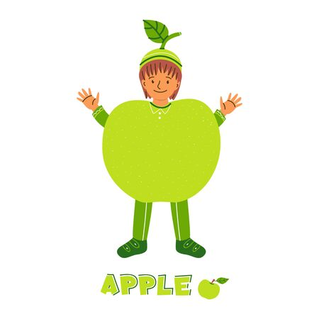 Little boy character in apple fruit costume. Kid dressed for kindergarten, school performance, show, carnival. Fruit green childish clothing. Isolated cartoon illustration with lettering, text