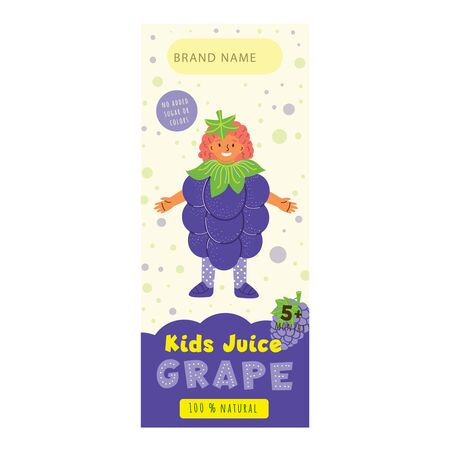 Kids juice grape flat packaging template. Smiling child wearing grape costume cartoon character. Tasty drink, natural juice for children design. Colorful label for juice advertising 일러스트