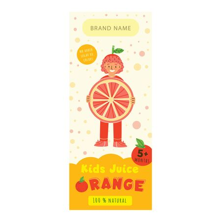 Kids juice orange flat packaging template. Happy boy in childish clothing cartoon character. Delicious beverage, natural juice for children design. Colorful label for juice advertising