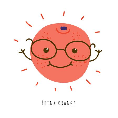Think orange - card. Smiling smart positive fruit with hands flat vector illustration. Handwritten text, funny slogan. Isolated  cartoon character with typography