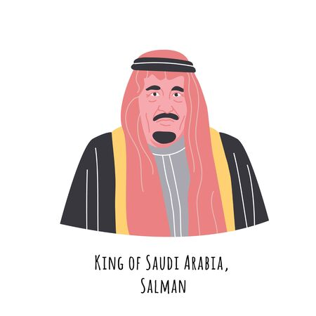 Salman bin Abdulaziz Al Saud  hand drawn color portrait illustration. King of the Kingdom of Saudi Arabia. Old respectable person in turban and suit cartoon character. Arabian government chief.